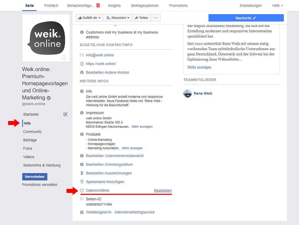 Screenshot von der Info-Seite Ihrer Facebook-Fanseite. Hier können Sie eine Datenschutzerklärung hinterlegen.