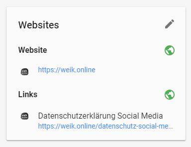 Screenshot der Webseiten-Übersicht bei Google Plus
