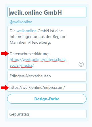 Screenshot des Twitter-Profils und wie Sie es bearbeiten