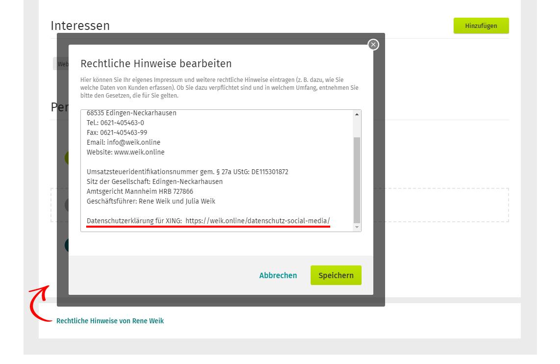 """Screenshot des XING Lebenslaufs und der Option """"Rechtliche Hinweise"""""""