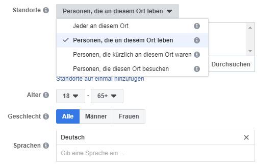 Screenshot der Auswahlmöglichkeiten nach Ort und Sprache, Facebook-Werbeanzeigenmanager