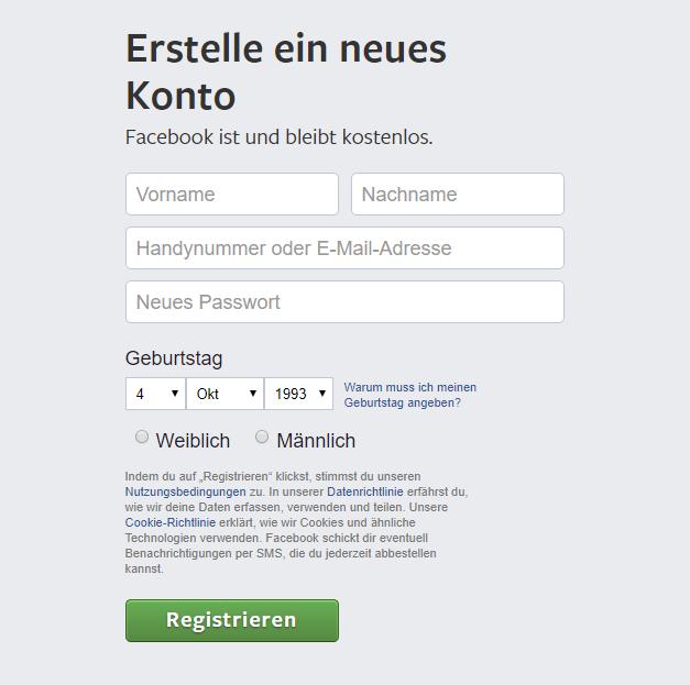 Die Registrierung bei Facebook ist kostenlos