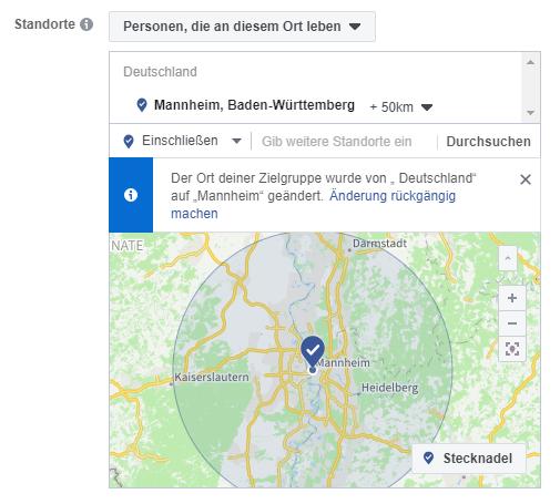 Facebook Screenshot: Umkreis des Standorts mit Karte von Mannheim / Heidelberg