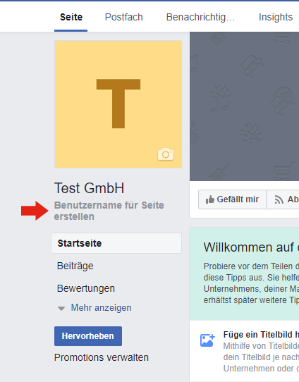 Geben Sie Ihrer Facebook-Seite einen einfachen Benutzernamen.